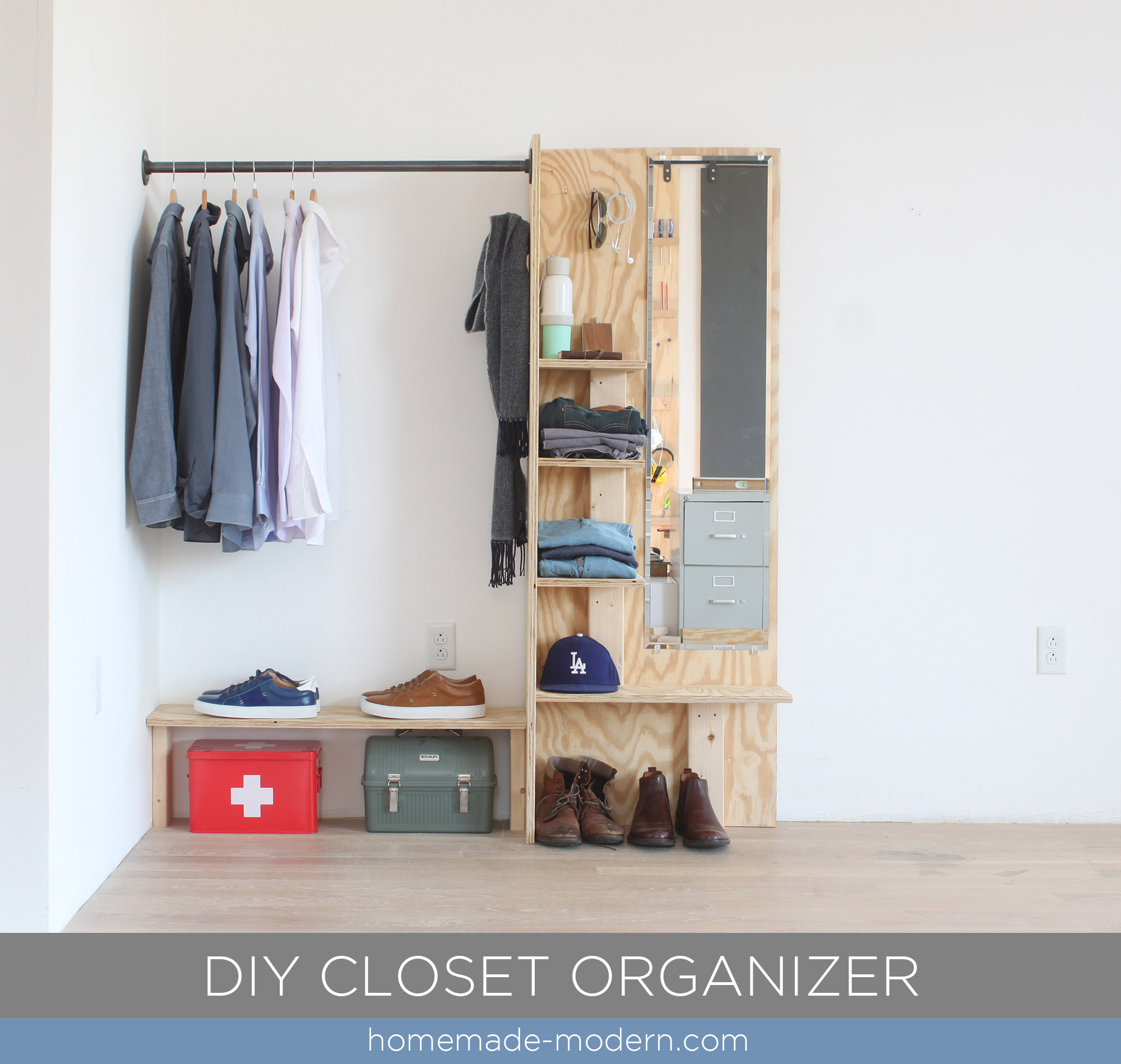 this diy closet organizer is made from materials available at home depot. CYVGCAK