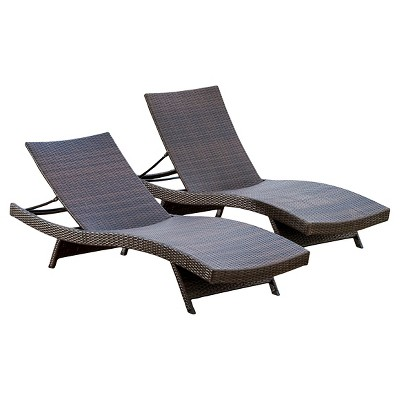 toscana set of 2 wicker patio chaise lounge - christopher knight home ZDBHFFN