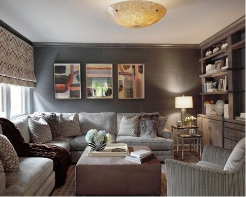 trendy family room photo in new york with gray walls and a media QTQLIDN