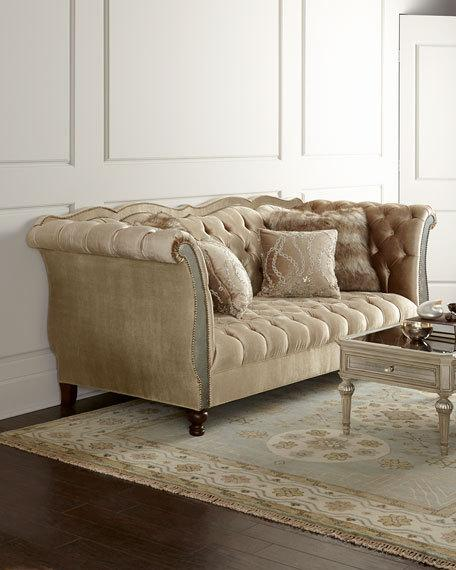 tufted sofas haute house leslie mirrored tufted sofa ABYTKGN