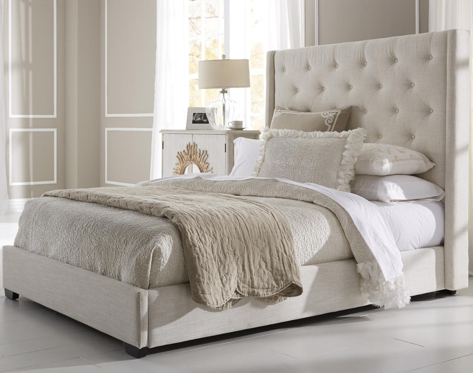 upholstered beds contemporary shelter fabric upholstered bed in cream DBKPZNW