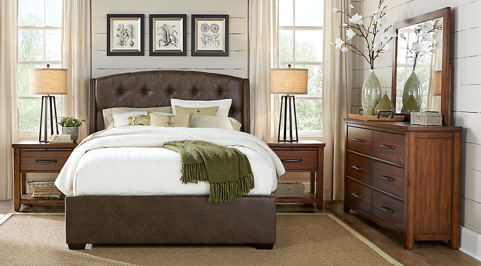 urban plains brown 5 pc queen upholstered bedroom - queen bedroom sets dark NABTKBR