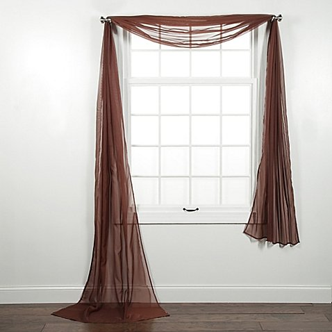 valance curtains 1 pc solid brown scarf valance soft sheer voile window panel curtain 216 NADOPFN