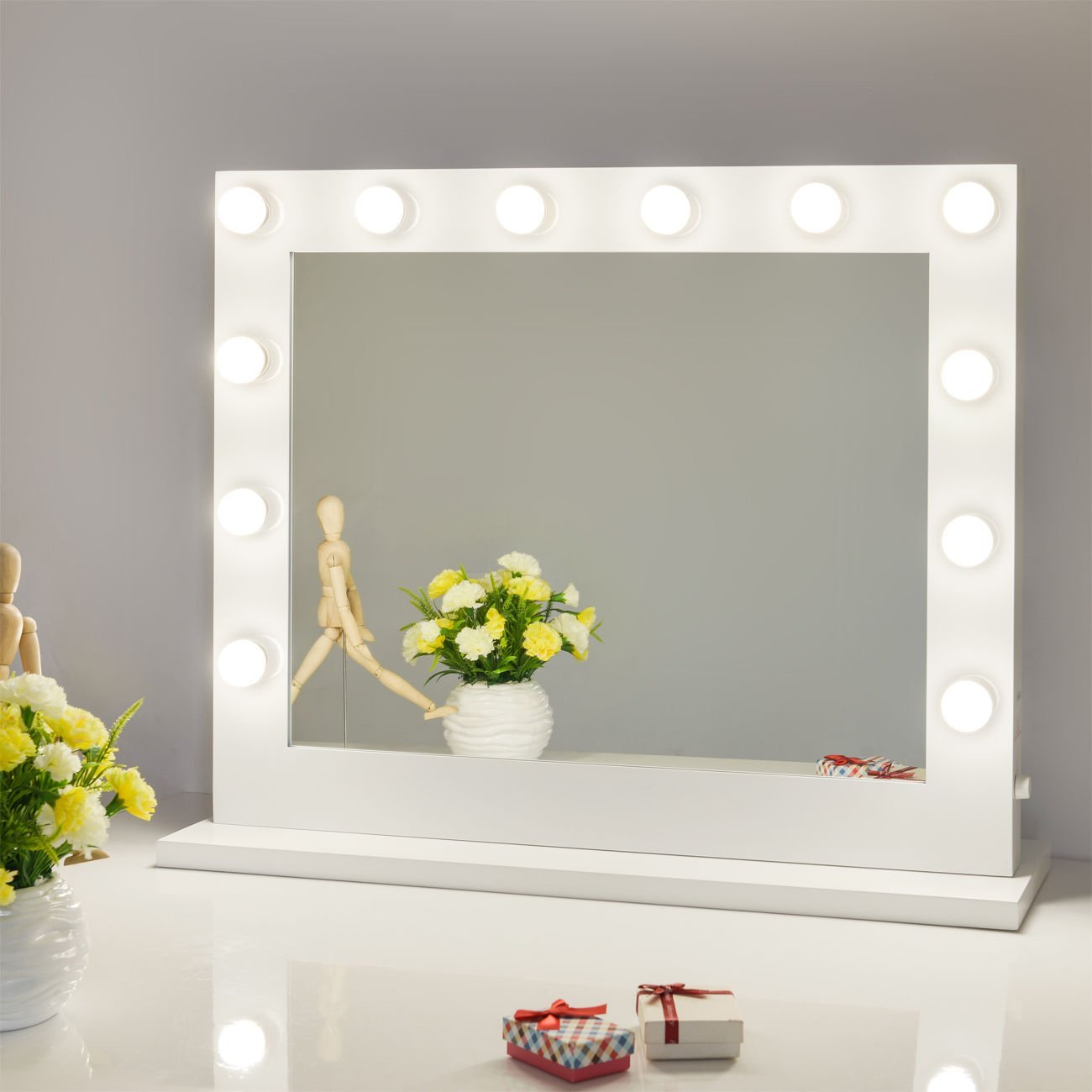 vanity mirrors amazon.com: chende white hollywood lighted makeup vanity mirror light,  makeup dressing table AURQNIW