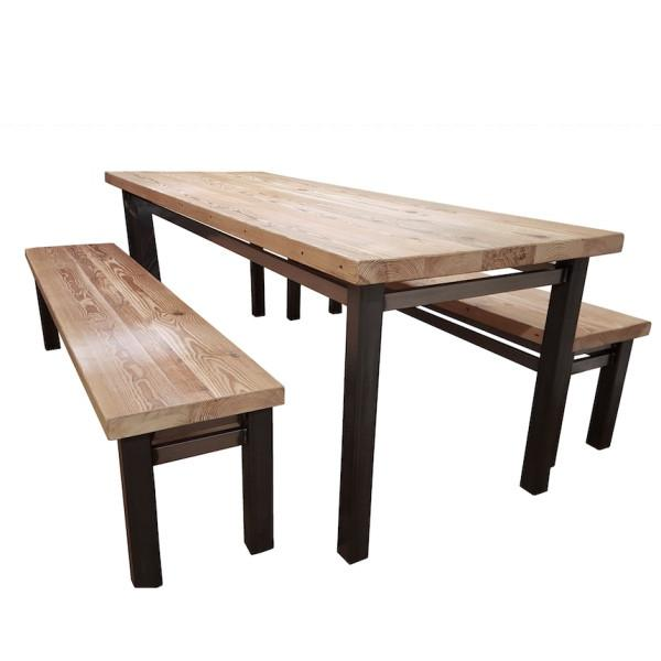 vardo indsutrial steel reclaimed wood dining table PYJTQDD