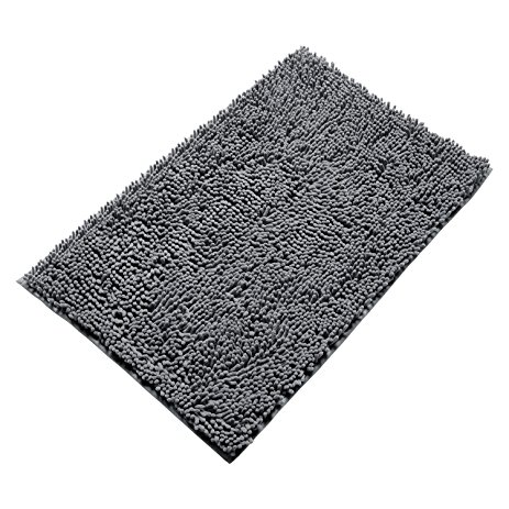 vdomus non-slip microfiber shag bathroom mat 20 x 32-inches (grey) JLDKAZG