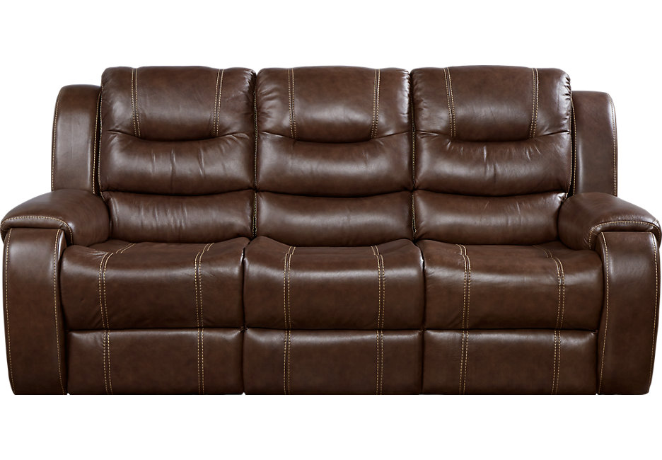veneto brown leather reclining sofa - leather sofas (brown) QSIETKA