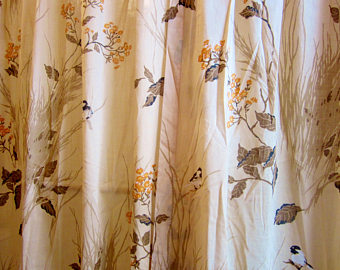 vintage curtains vintage curtain panel semi-sheer asian nature scene 50 AJPERRM