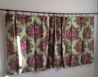 vintage curtains vintage floral curtains, vintage short wide curtains, vintage retro curtains,  green pink ATBKGPY