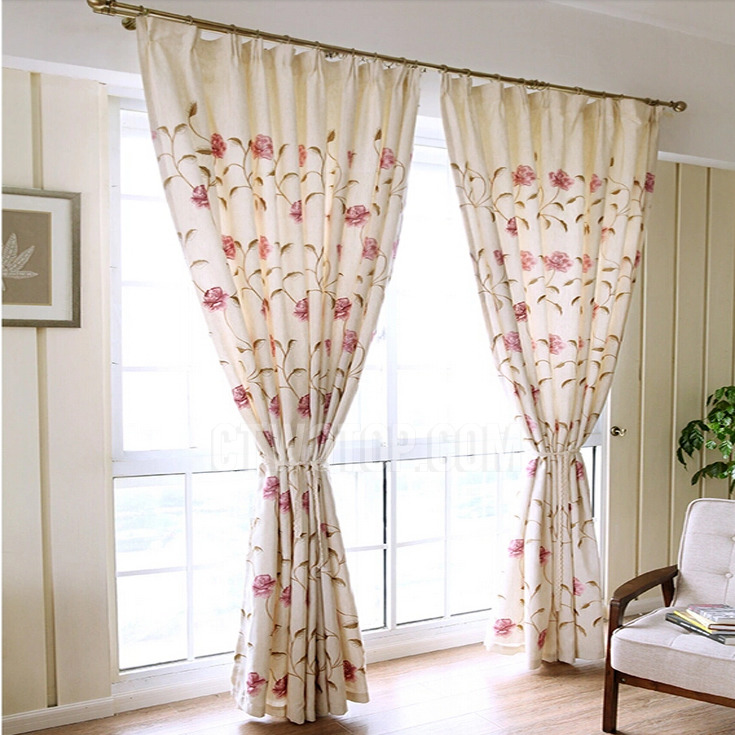 vintage curtains vintage retro curtains with embroidery flowers for bedrooms SDIJFTU
