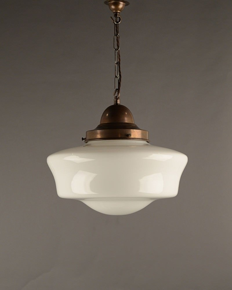 vintage lighting school house pendant ceiling light, opal glass shade, vintage retro lighting DVLMEYA