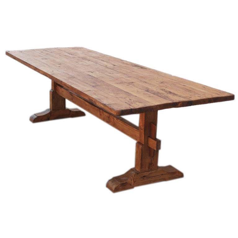 vintage pine trestle table 1 TAZCUFW