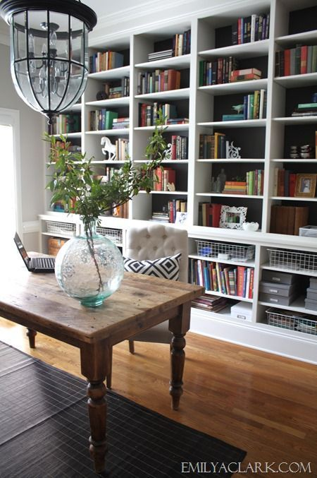 wall bookshelves love the huge wall-to-wall bookcases in this home office GRRBZDY