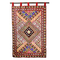 wall hangings handcrafted cotton applique wall hanging from india - diamond glamour |  novica CAUESBU