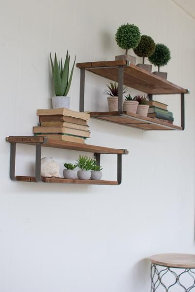 wall shelf recycled wood and metal floating shelves, set of 2 SIIGNZL