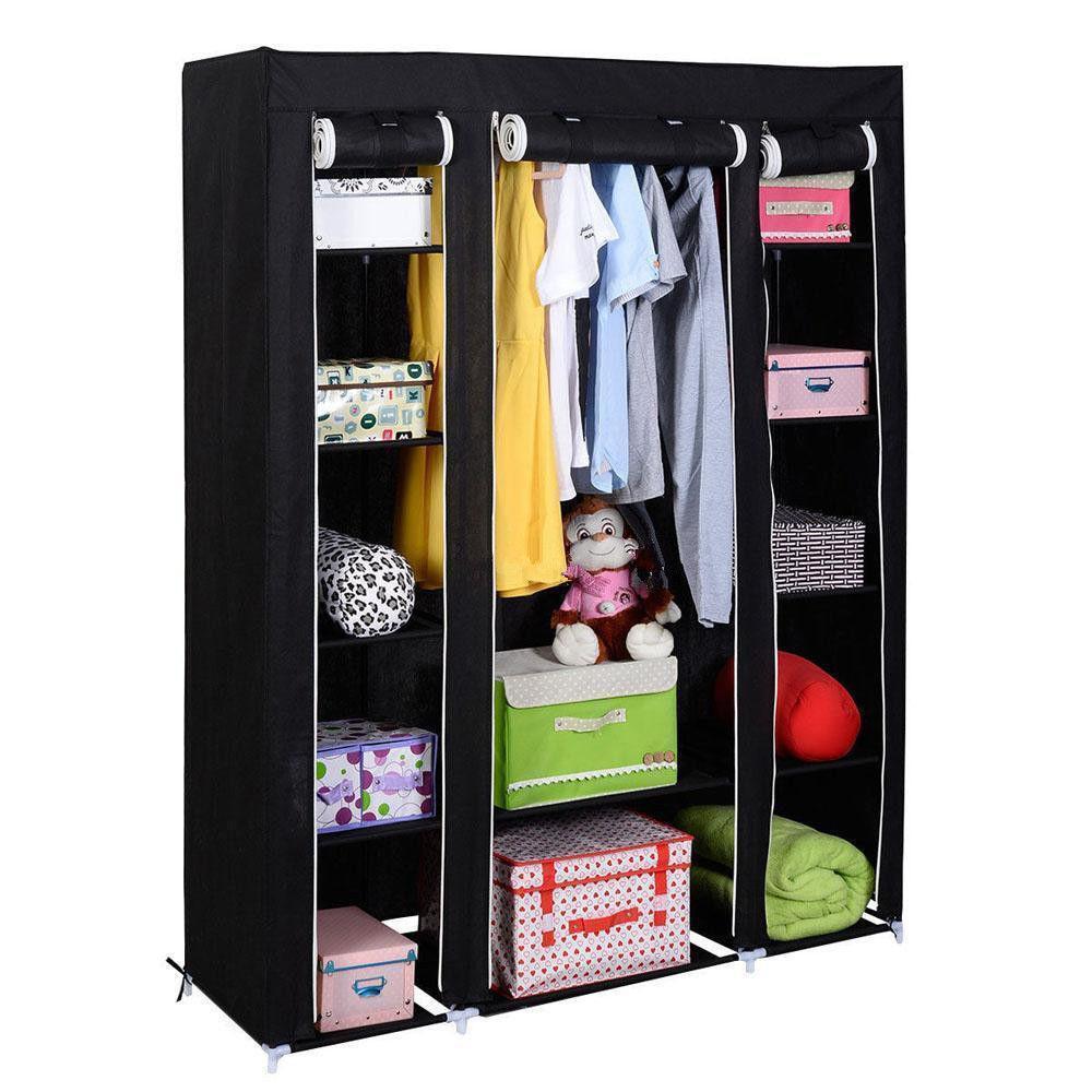 wardrobe closet 53u0027u0027 portable closet wardrobe clothes rack storage organizer with shelf  black closet ASPIXDN