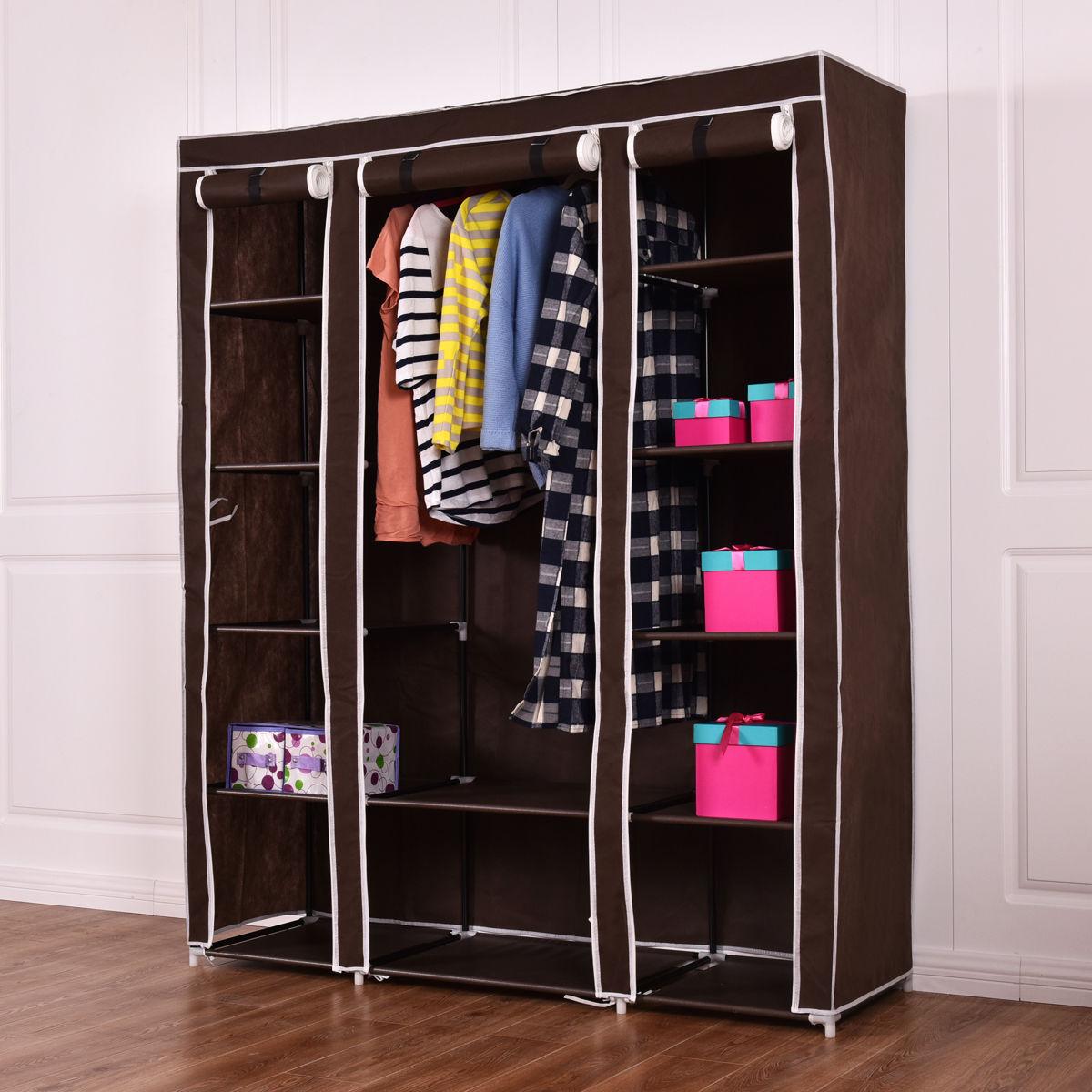 wardrobe closet costway 70u0027u0027 portable closet storage organizer clothes wardrobe shoe rack  w/shelves brown IHIUDQJ