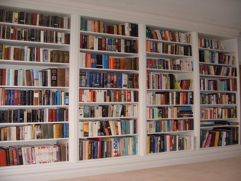 white bookshelves ... white makes the perfect contrast and if the room is done in MHFLSJF