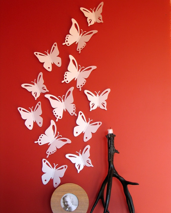 white butterfly wall decor 3d....on pink wall :) ZGAHYRM