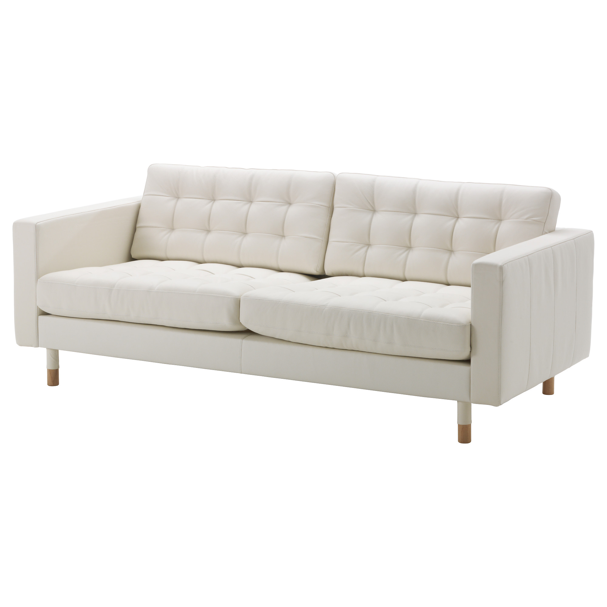 white leather sofa landskrona sofa, grann, bomstad white/wood width: 80 3/8  GDKYWIS