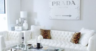 white living room with gold table/lamps cream pillows. gray living room ... STYBSQA