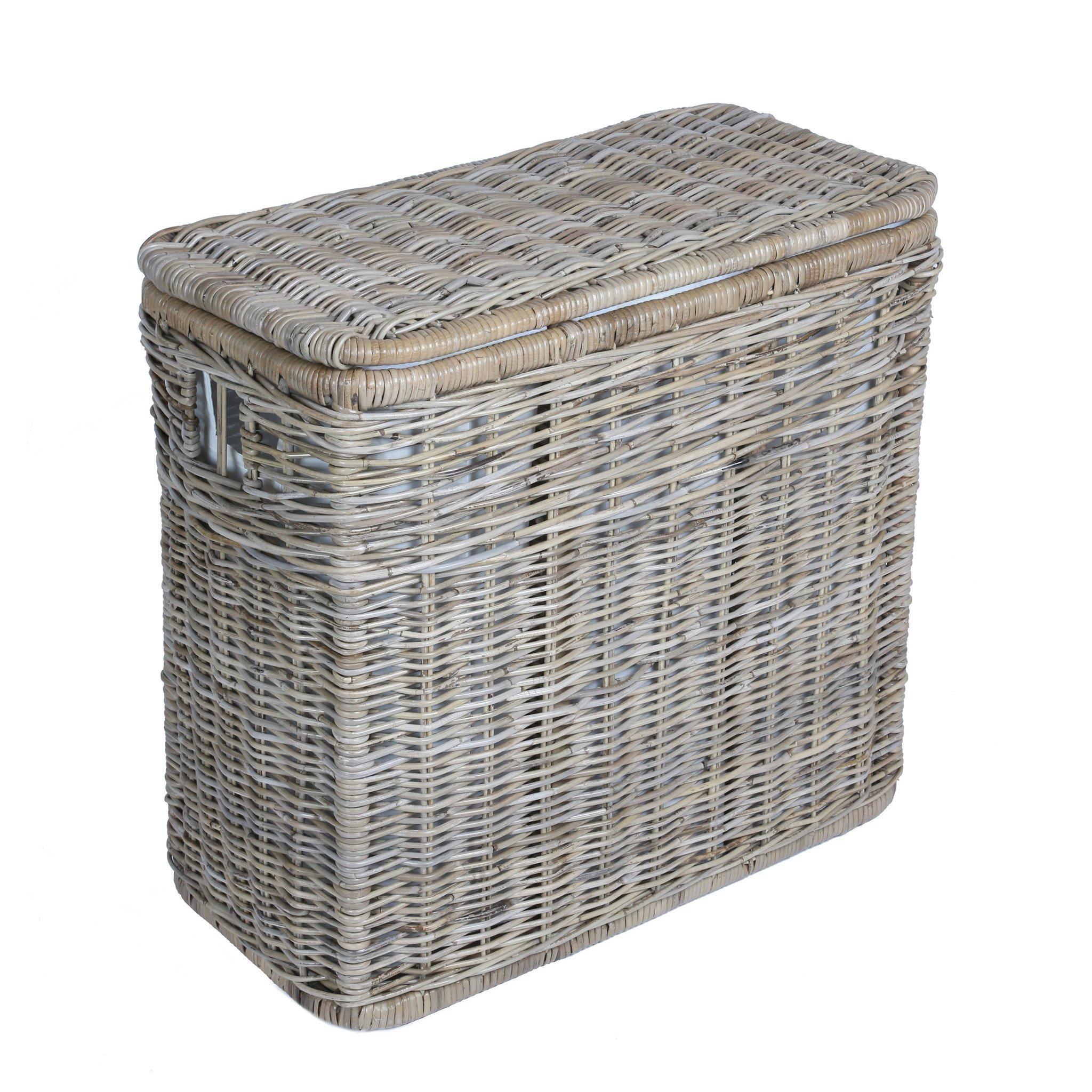 wicker laundry basket ... 3-compartment kubu wicker laundry hamper in serene grey | the basket NTFECMS