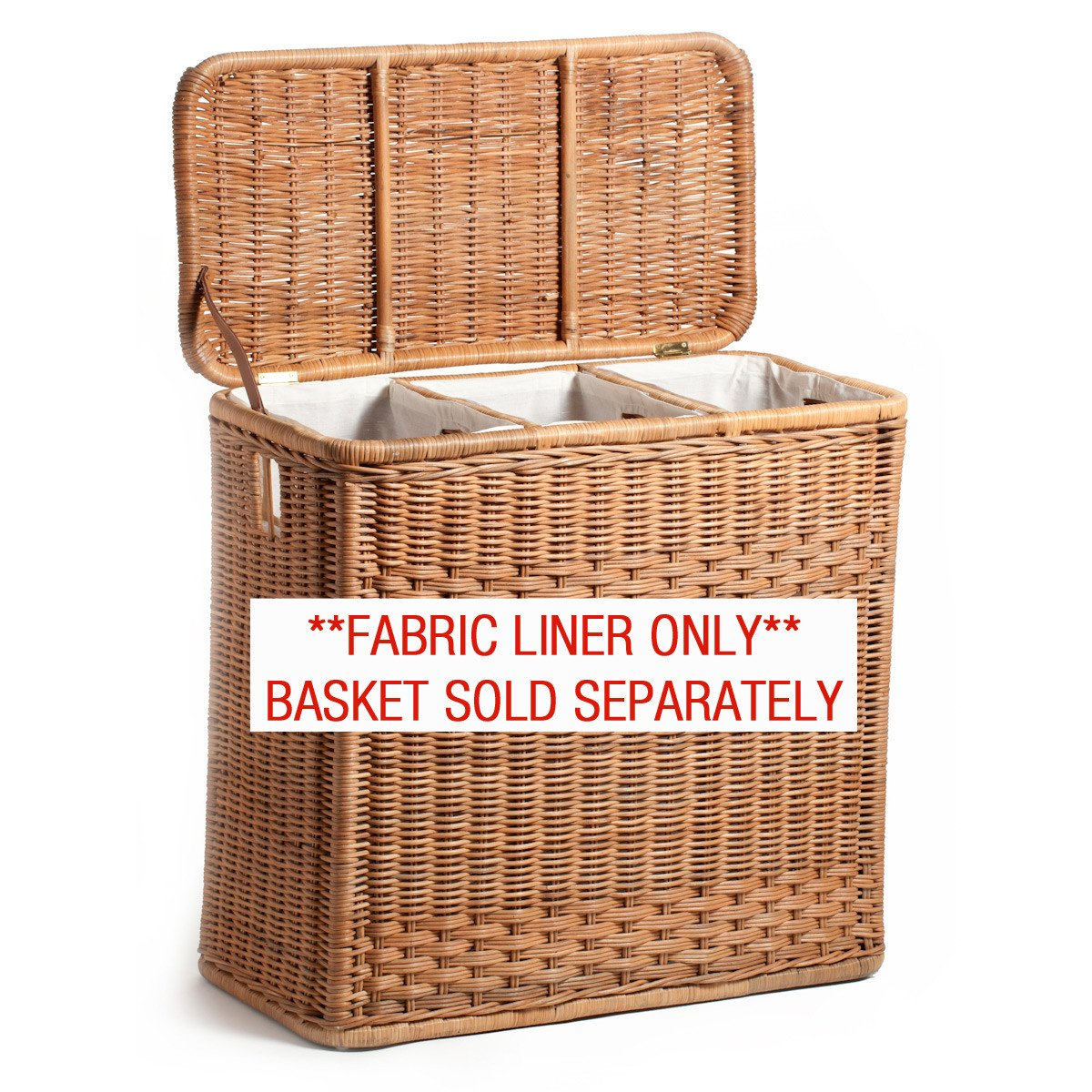 wicker laundry basket fabric liner for 3-compartment wicker laundry hamper, basket sold  separately | the LJACWCK
