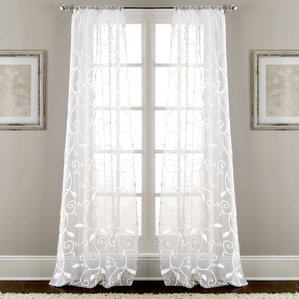 window drapes lindsey embroidered nature/floral semi-sheer rod pocket curtain panels (set  of 2 FUZHKIE