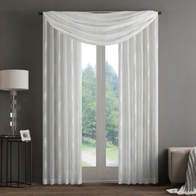 window scarves regency heights aria stamp sheer window scarf valance in white XODWDYR