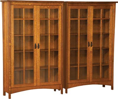 wood bookcases arts and crafts double bookcase with four doors KZXLPPY