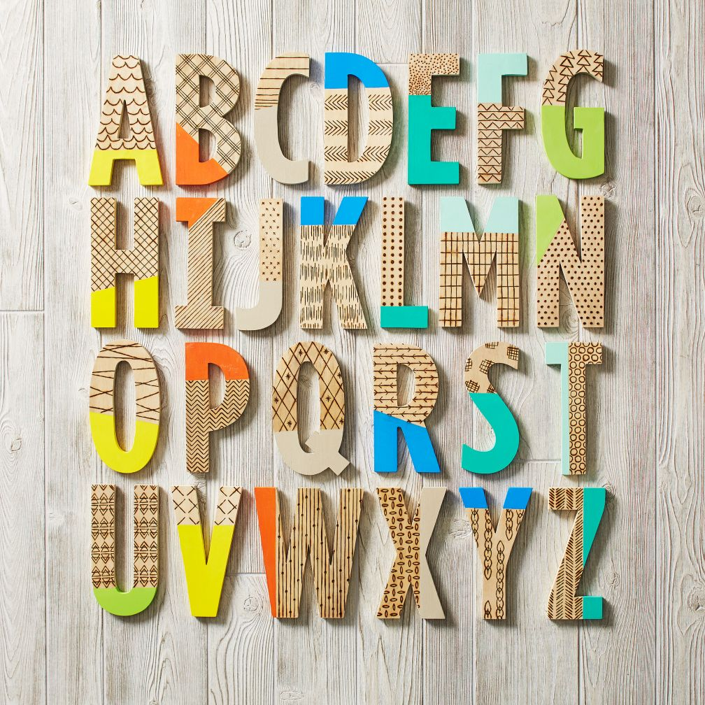 wood burn paint dipped wall letters | the land of nod HEGYXBT