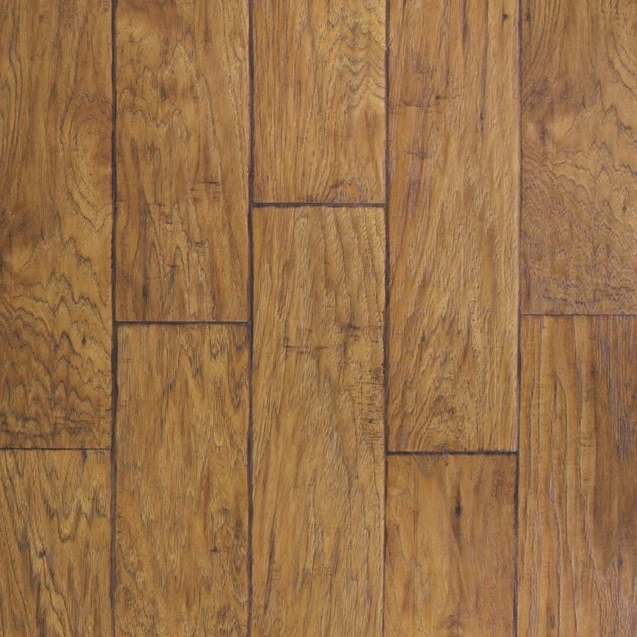 wood laminate flooring allen + roth 6.14-in w x 4.52-ft l saddle hickory handscraped wood ADACPMH