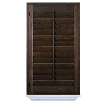 wood shutters installed hardwood stained shutter GPLRSUZ