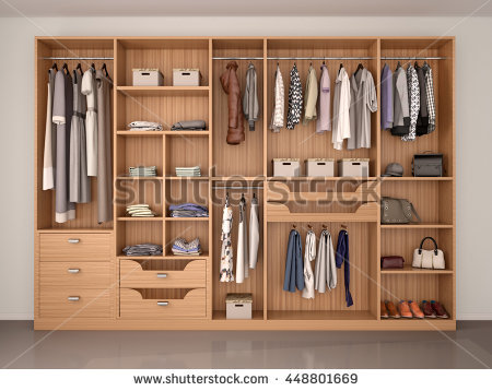 wooden wardrobe closet full of different things. 3d illustration RKWVDQV