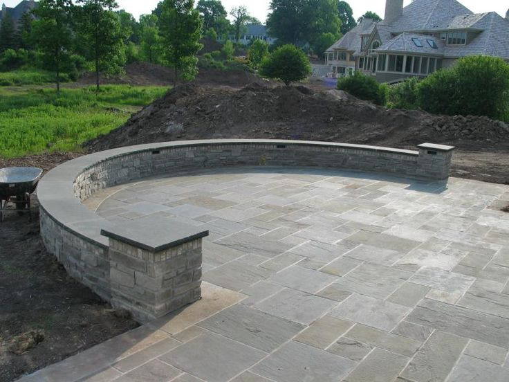 work pics u003e curved lannon stone wall , a-pattern bluestone patio JQIGRWC