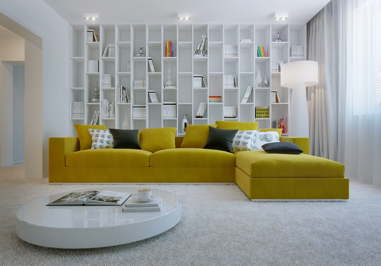 yellow sofa a vibrant living room IOUVEJW