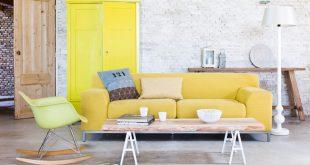 yellow sofa white washed bricks wall and yellow pale sofa SAFFYTU