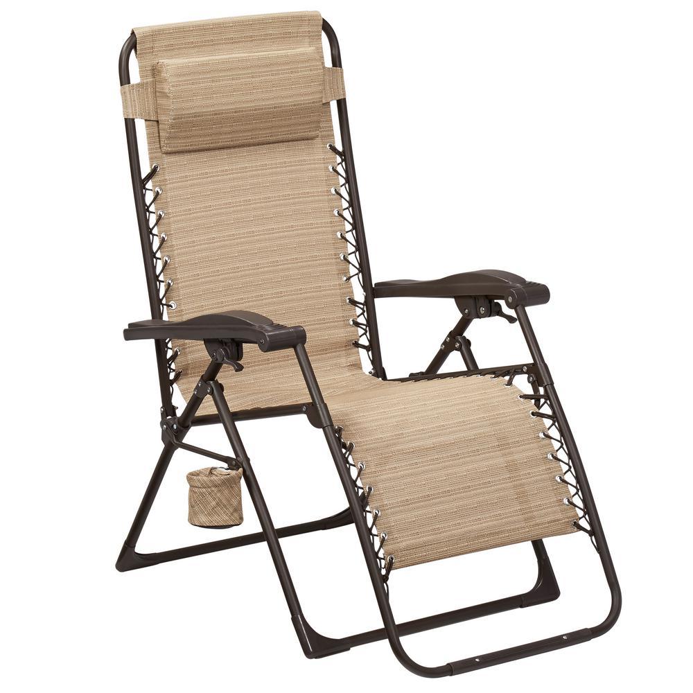Reclining Garden Chairs hampton bay mix and match zero gravity sling outdoor chaise lounge chair in BLKLJQU