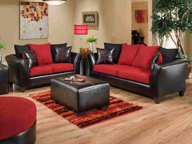 Red Sofa jefferson black/red sofa u0026 love set JKHUMRE