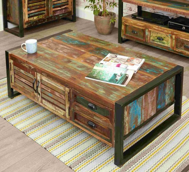 agra reclaimed wood furniture large storage coffee table with drawers APWFACE
