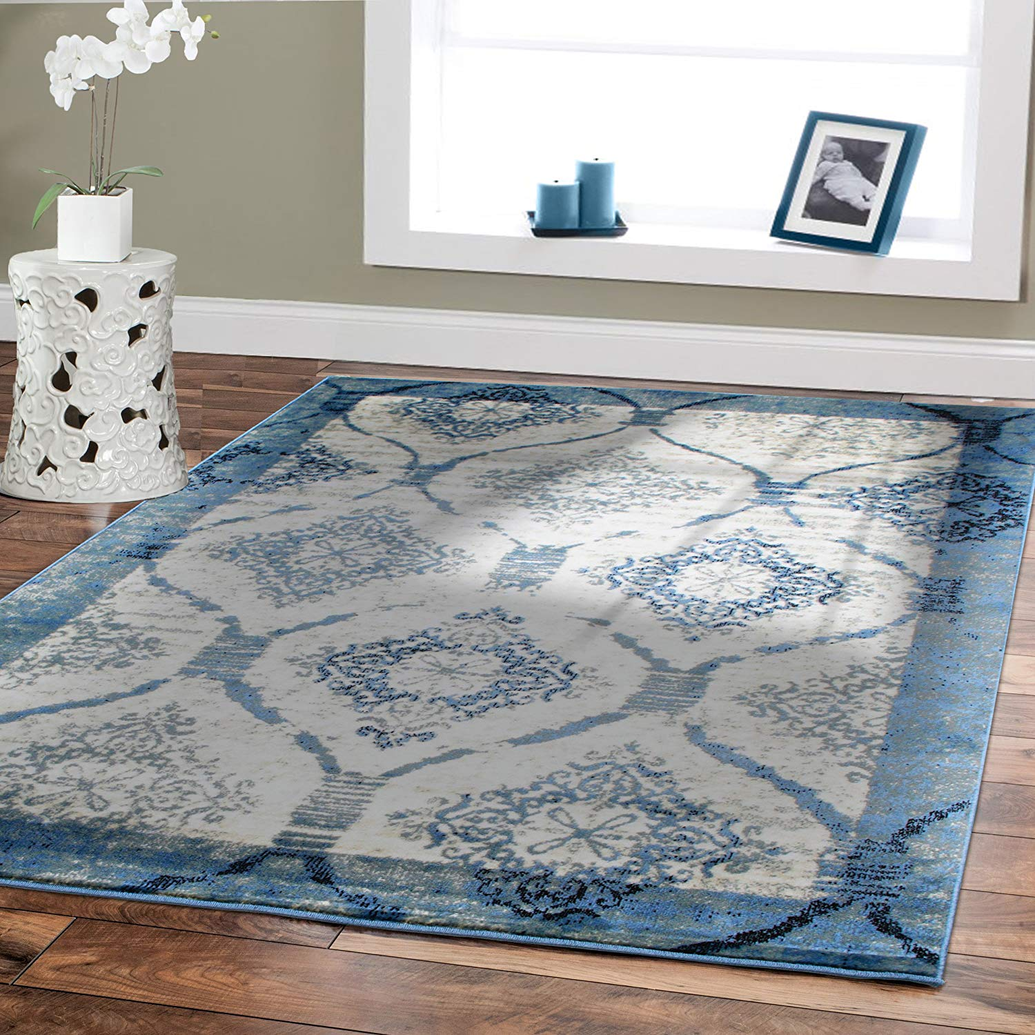 amazon.com: contemporary rugs for living room 5x8 blue area rug modern rugs OXXFPPF