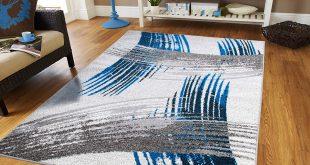 amazon.com: luxury new fashion art collection contemporary modern rugs  splat blue black XVPYCWK
