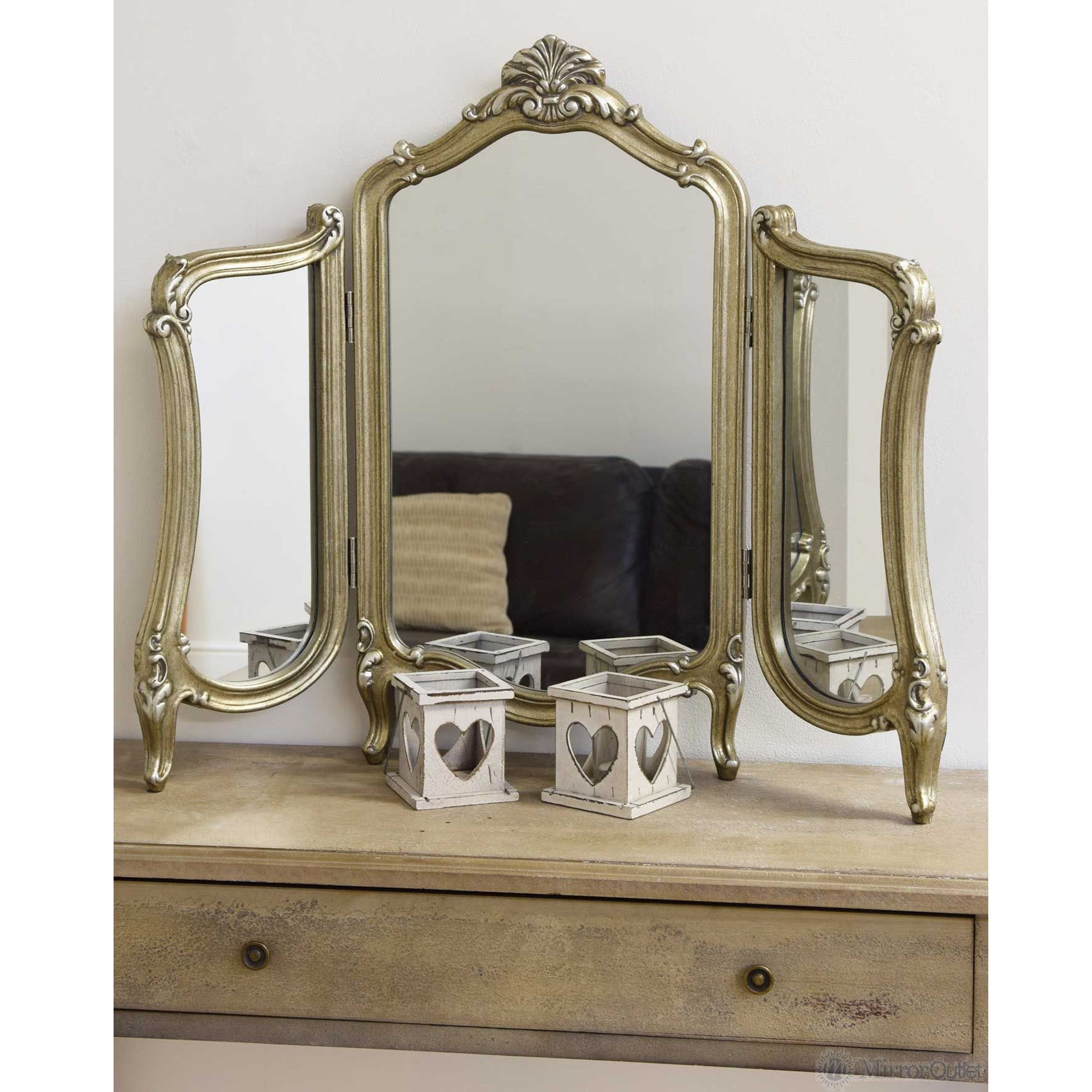 antique french style 3 way dressing table mirror GERCTIS