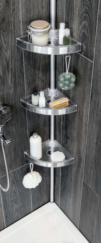 bathroom caddies home floor to ceiling aluminium shower organiser pole ATQFLMH
