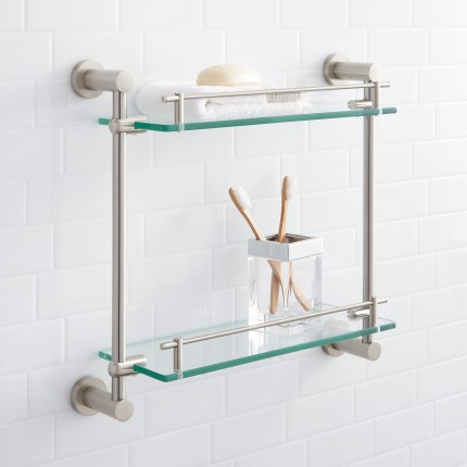 Bathroom Glass Shelves ceeley tempered glass shelf - two shelves GZCXIQF