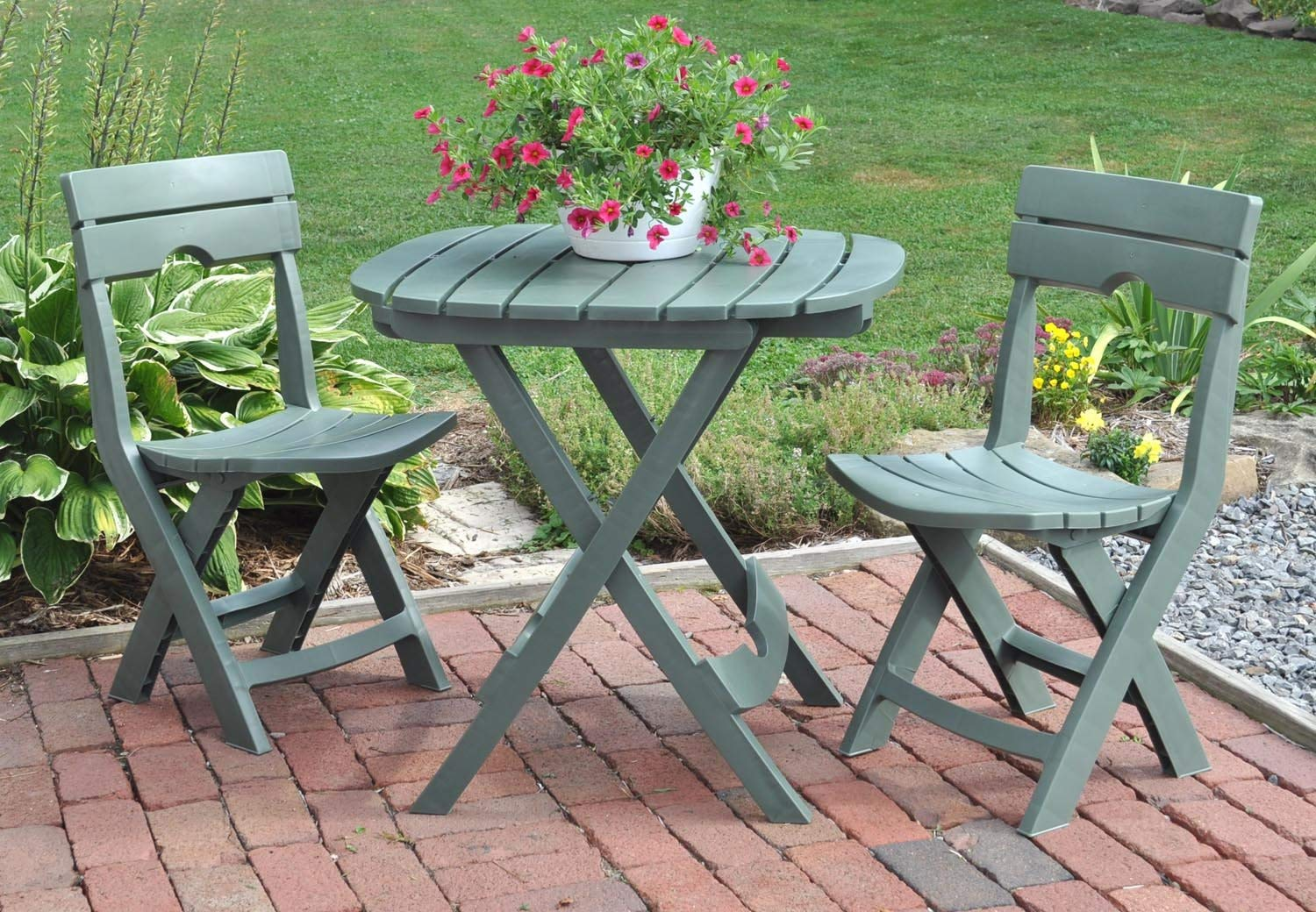 Bistro Sets amazon.com : adams manufacturing 8590-01-3731 quik-fold cafe bistro set,  sage : outdoor DZRFTEL