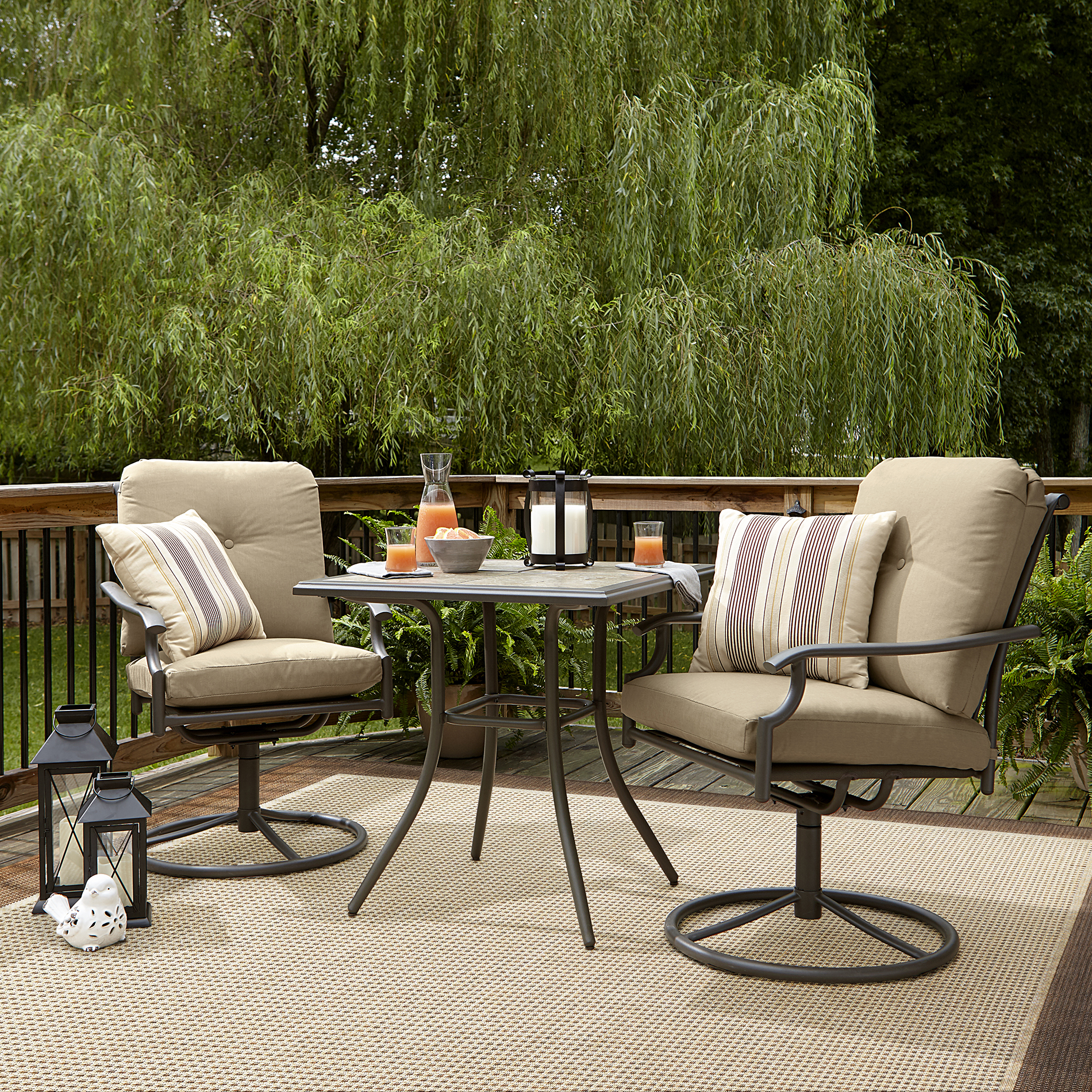 Bistro Sets garden oasis brookston 3-piece swivel bistro set - stone *limited  availability OGJMFRT