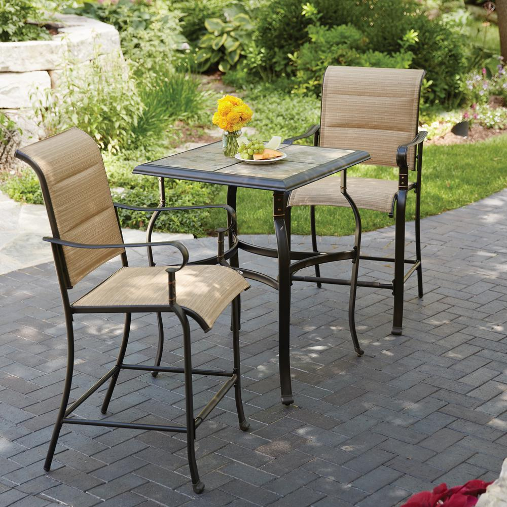 Bistro Sets hampton bay belleville 3-piece padded sling outdoor bistro set RZTNAHE