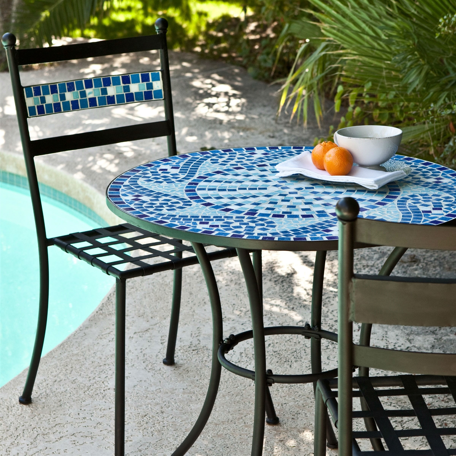 Bistro Sets outdoor 3-piece aqua blue mosaic tiles patio furniture bistro set MCRMLXN