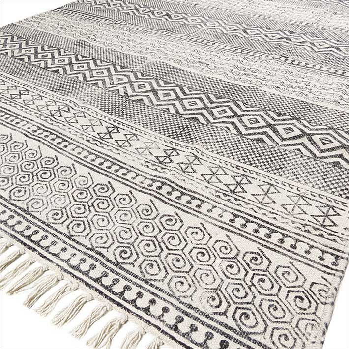 black and white rugs black white block print flat weave woven area accent dhurrie cotton rug - UQSSIZB